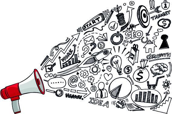 illustrazione megafono idee social media strategy